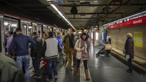 Estación de Universitat de la línea 1 del metro de Barcelona.