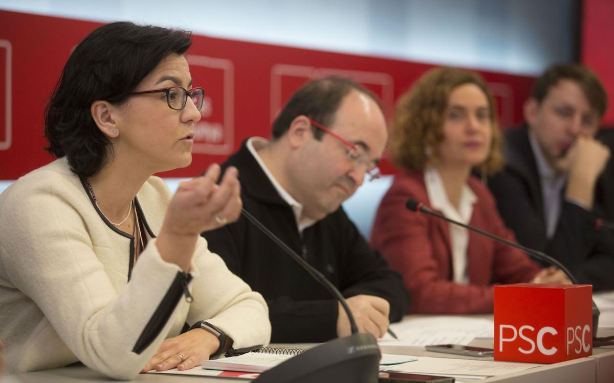 Eva Granados (izquierda), junto aMiquel Iceta,Meritxell Batet y Javi López en la reunión interparlamentaria del PSC.