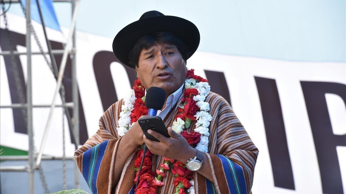 Evo Morales en un acto políticop en Cochabamba.