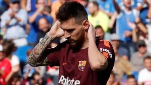 Leo Messi, durante el partido de la Liga Santander, Getafe-Barça.
