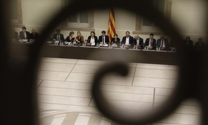 Imagen de la cumbre por el referéndum en el Parlament.