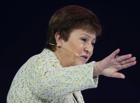 IMF Managing Director Kristalina Georgieva speaks at the Global Women's Forum in Dubai, United Arab Emirates, February 16, 2020. REUTERS/Christopher Pike