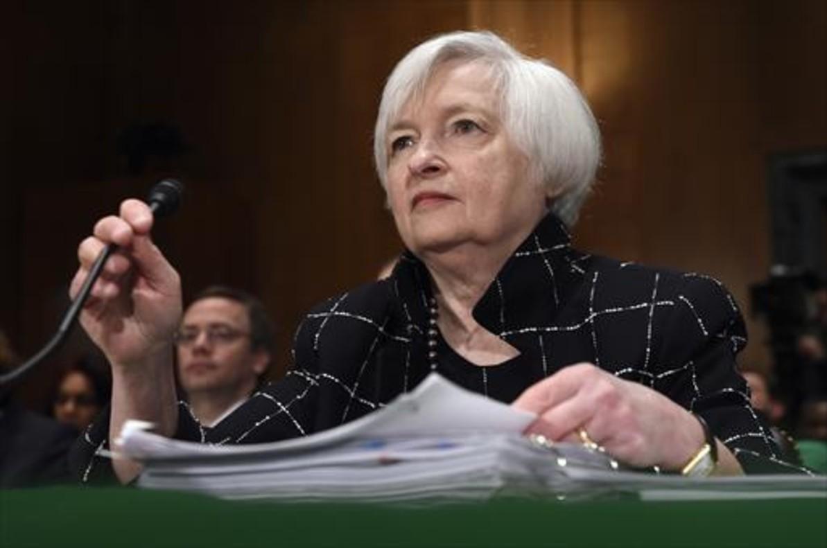 Janet Yellen, presidenta del Fed, en una comparecencia en el Senado.