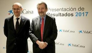 Javier Valle (izquierda) y Tomás Muniesa, directivos de VidaCaixa.