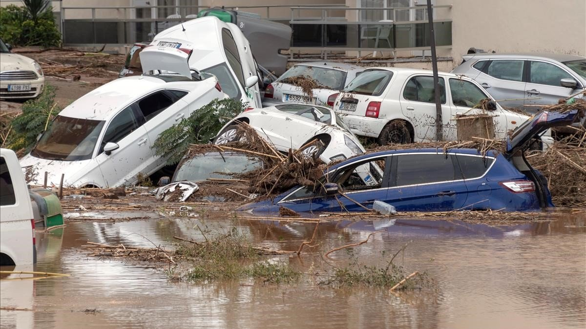 Una calle de Sant Llorenç des Cardassar, tras las inundaciones.
