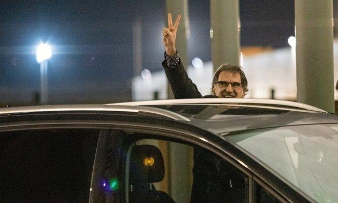 Jordi Cuixart sale de la cárcel de Lledoners para disfrutar de su primer permiso penitenciario, el pasado 16 de enero.