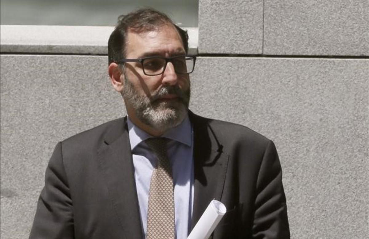 El juez Eloy Velasco, a su salida de la Audiencia Nacional.