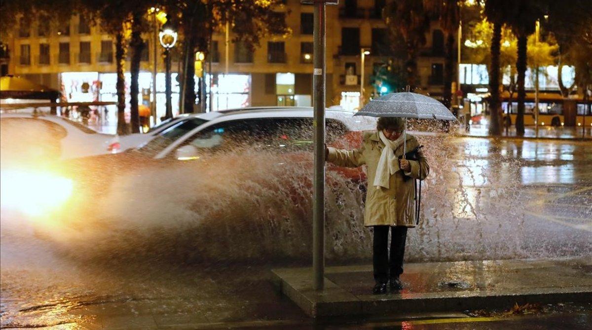 Las lluvias en Barcelona, el miércoles por latarde.