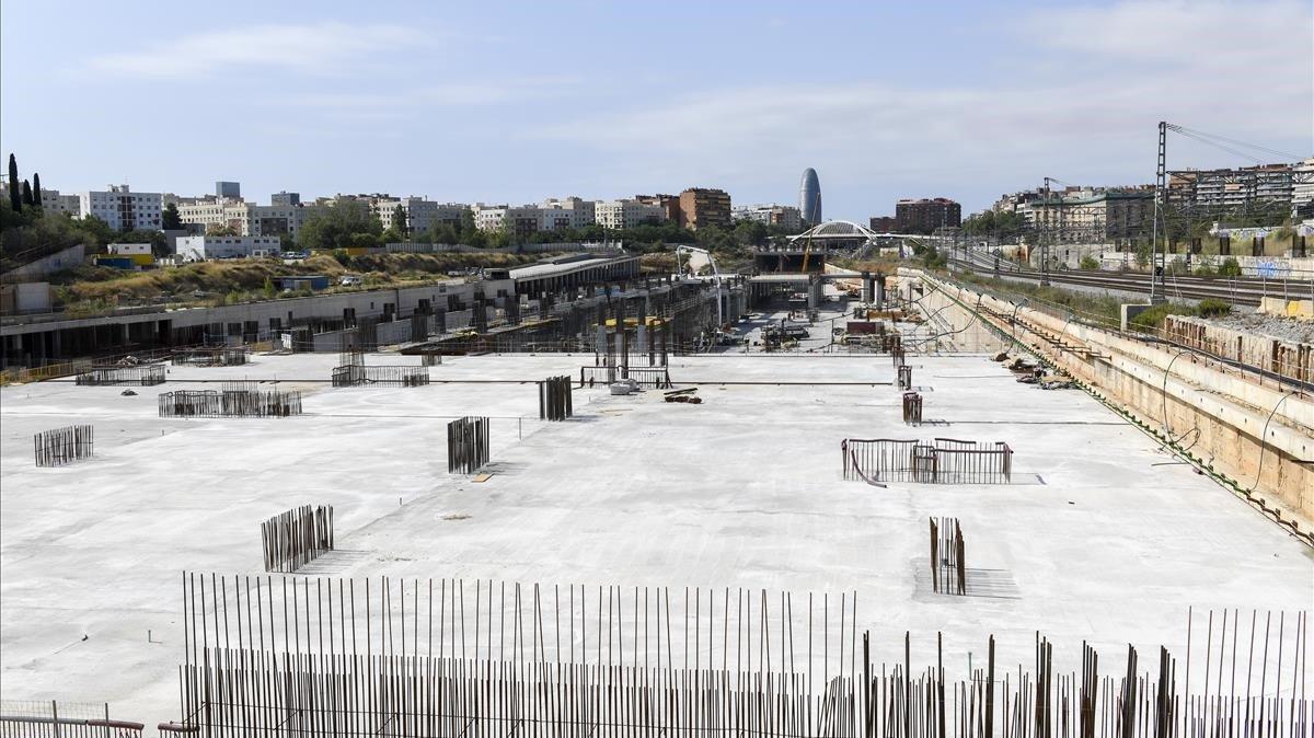 Las obras de la nueva estación del AVE, en La Sagrera