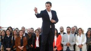 El líder de Cs, Albert Rivera, en un acto de precampaña, este martes, en A Coruña.