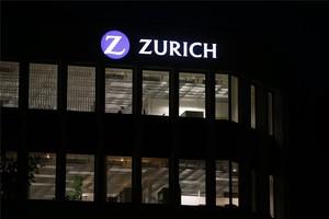 Logotipo de Zurich en la sede de la firma, en Zurich Suiza.
