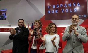 Los cabeza de lista del PSC a las elecciones del 28A: Marc Lamuà, Montse Mínguez, Meritxell Batet y Joan Ruiz.