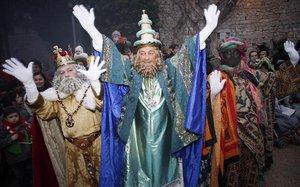 Los tres Reyes Magos de Girona del 2010.