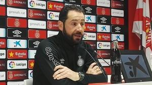 Pablo Machín, en la rueda de prensa de este viernes.