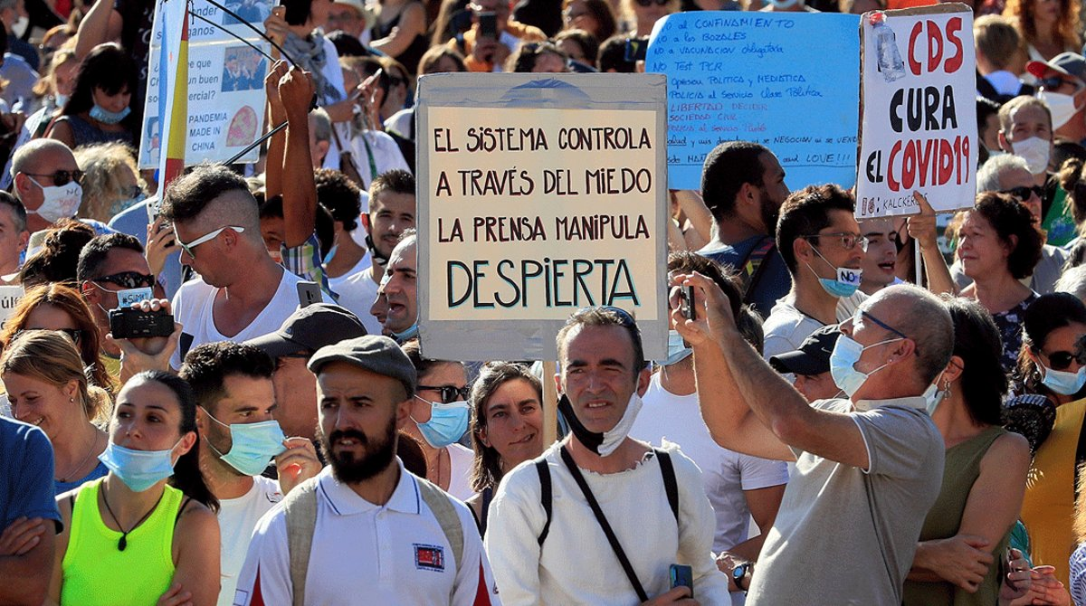 Manifestación contra el uso generalizado de las mascarillas y otras restricciones anticovid, en el centro de Madrid, el pasado 16 de agosto.