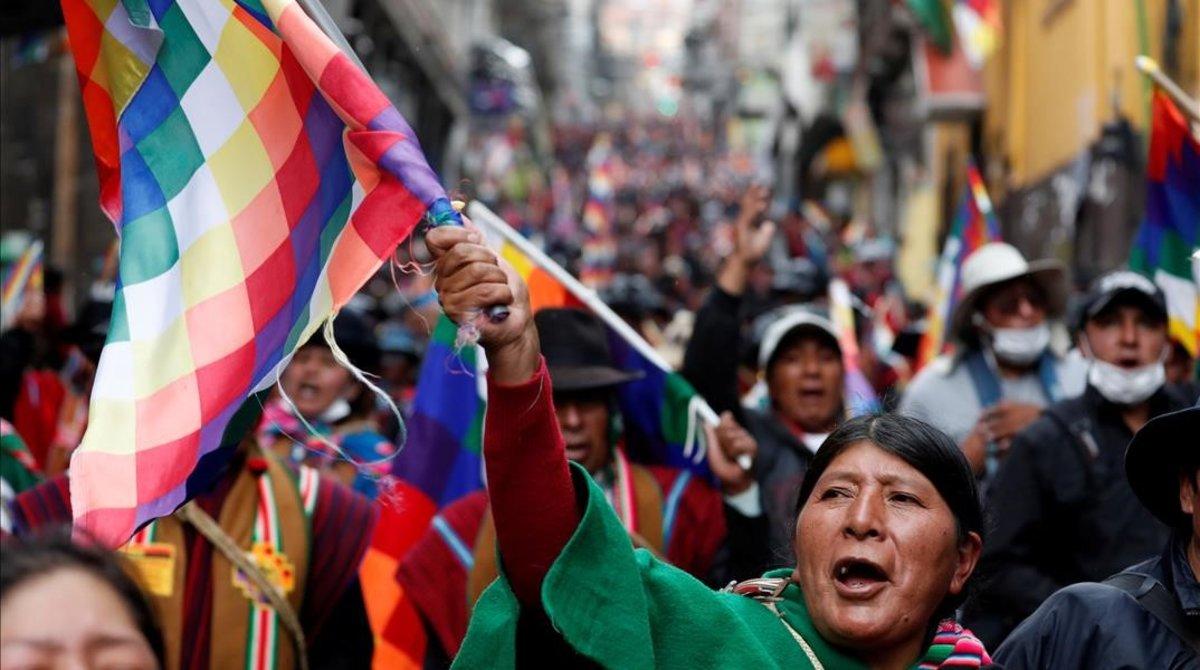 Manifestación en La Paz de partidarios de Evo Morales.