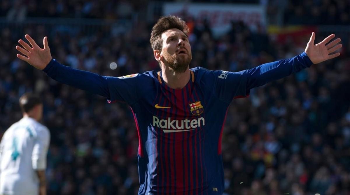 Messi, en el clásico del Bernabéu.