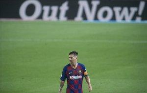 Messi, durante el partido entre el Barça yel Atlético de Madrid.