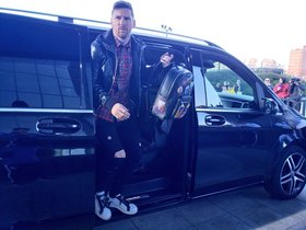 Messi, a su llegada a Madrid.