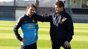 Messi i Tito, a la ciutat esportiva de Sant Joan Despí, a finals del 2012.