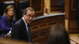 El ministro de Sanidad, Asuntos Sociales e Igualdad, Alfonso Alonso, en el Congreso.