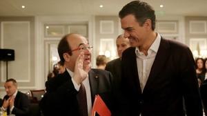 Miquel Iceta y Pedro Sánchez, este miércoles en Madrid.