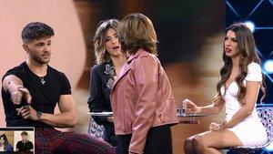Momento en el que la madre de Andrea se encara a Ismael en el debate de 'La isla de las tentaciones'.