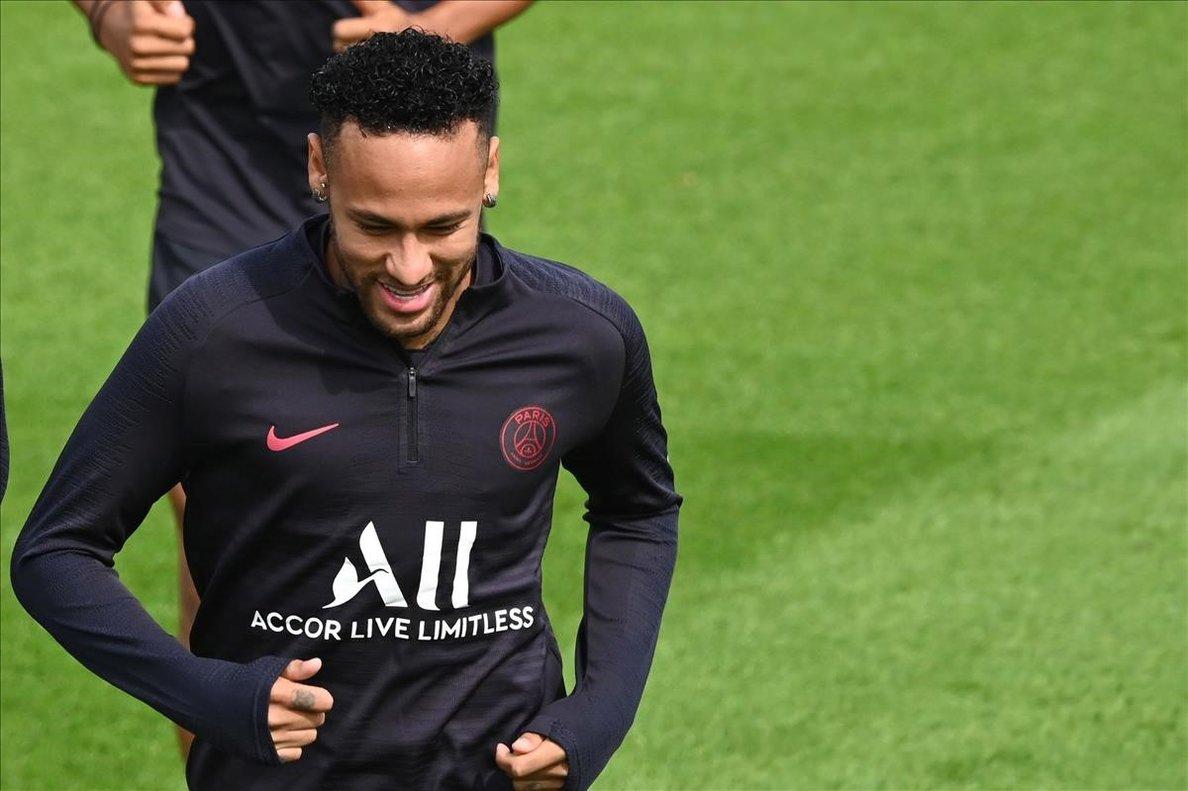 Neymar, en el entrenamiento del PSG del pasado sábado