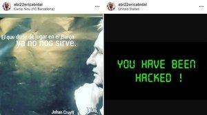 Los mensajes publicados en la cuenta de Eric Abidal tras ser pirateada