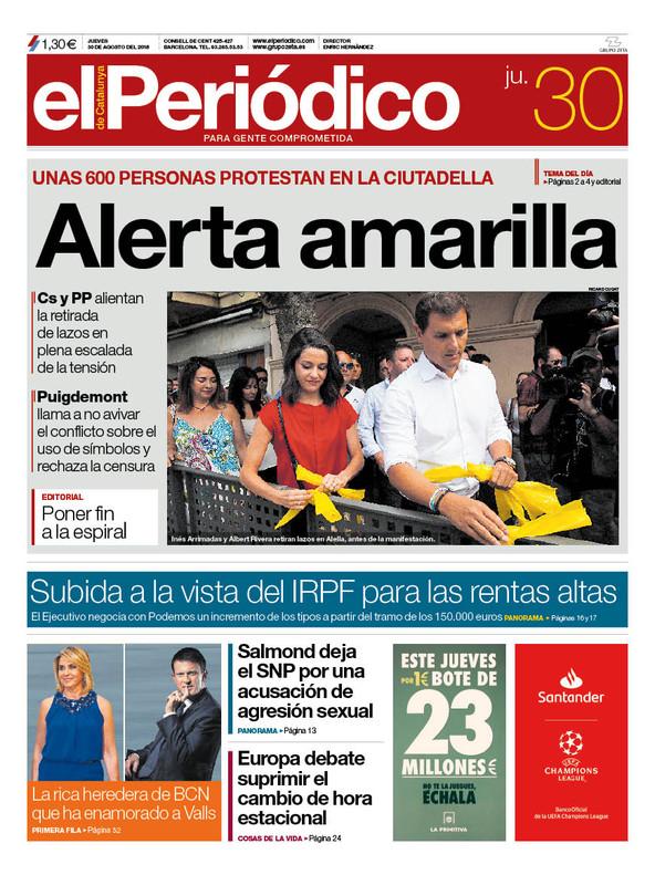 La portada de EL PERIÓDICO del 30 de agosto del 2018