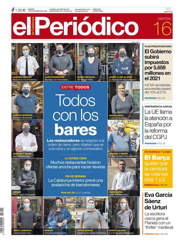 La portada de EL PERIÓDICO del 16 de octubre del 2020