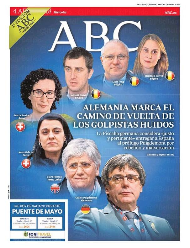 La solicitud de la fiscalía alemana sobre Puigdemont protagoniza las primeras páginas