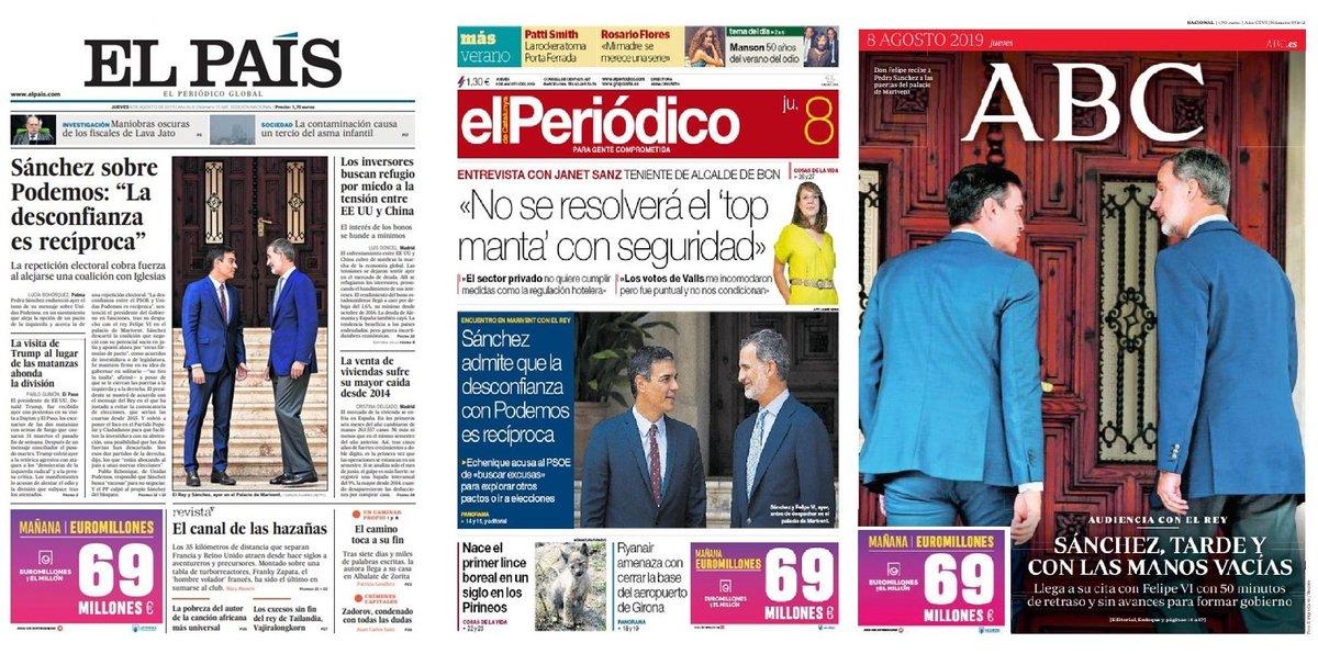 Prensa de hoy: Las portadas de los periódicos del jueves 8 de agosto del 2019