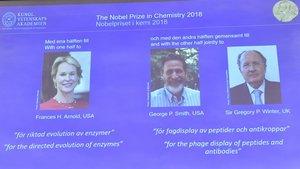 Otra mujer entre los tres ganadores del Nobel de Química 2018