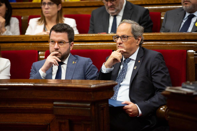 25/09/2019 El president de la Generalitat, Quim Torra i el vicepresident de la Generalitat, Pere Aragon�s, en el debat sobre política general al Parlament de Catalunya, a Barcelona, 25 de setembre del 2019.