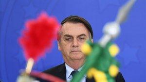 Bolsonaro preside una ceremonia militar este viernes en el Palacio Planalto.