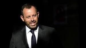 Rosell llega a la Audiencia Nacional de Madrid en julio del 2014 para declarar por el 'caso Neymar'.