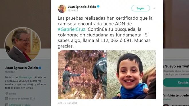 Així ho ha afirmat el ministre de lInterior, Juan Ignacio Zoido, al seu compte de Twitter.