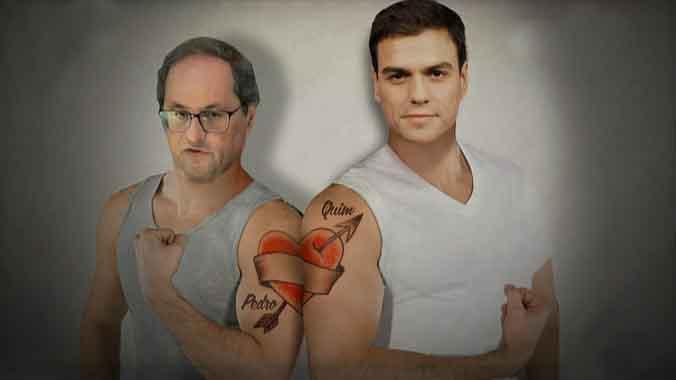 Sánchez y Torra tatuados por 'El intermedio'.