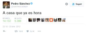 Tuit que Pedro Sánchez publicó en el 2012 y que algunos usuarios de la red social han recuperado este sábado tras su renuncia.