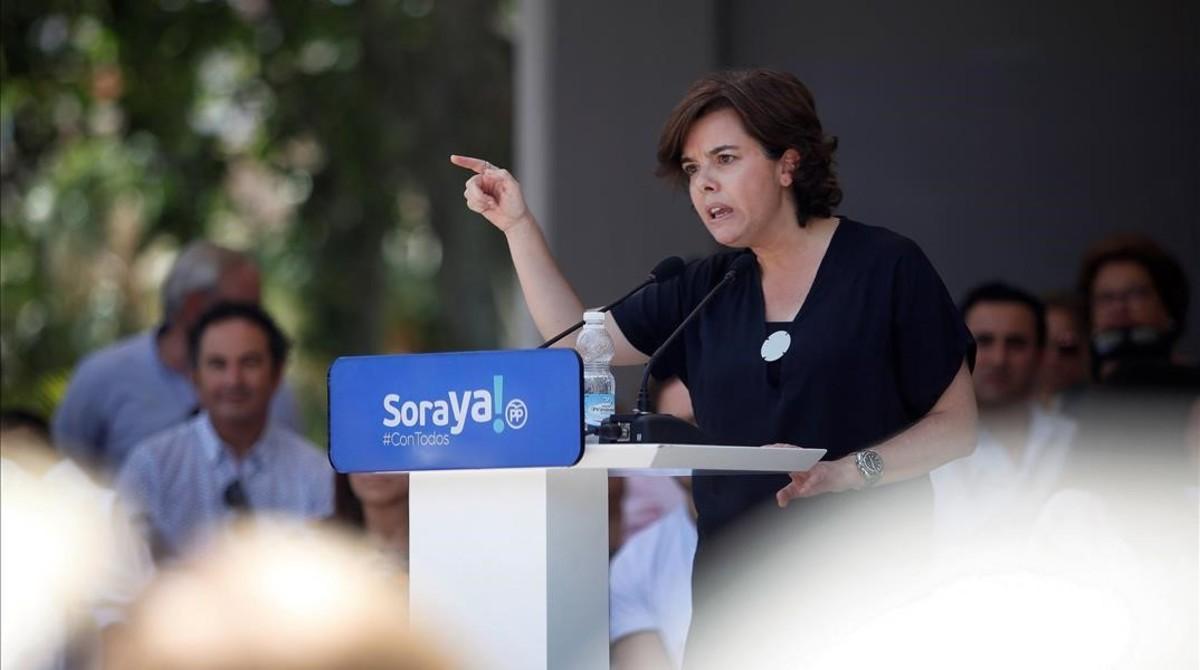 Soraya Sáenz de Santamaría, esta mañana en su primer acto de campaña interna, en Málaga.