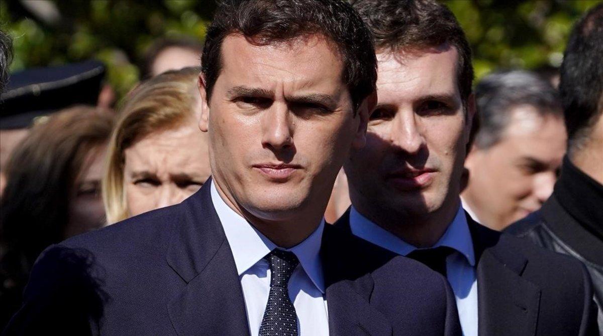 Albert Rivera y Pablo Casado, en un acto el pasado mes de marzo.