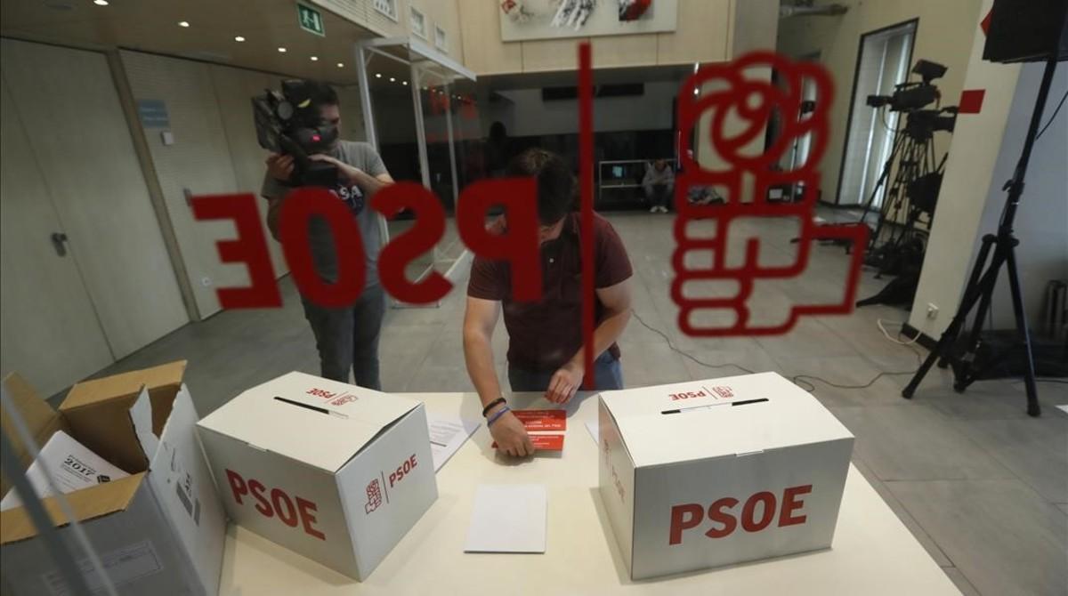 Urnas donde los afiliados socialistas depositarán su voto este domingo.