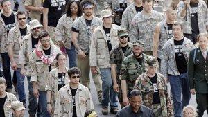 El reverendo Jesses Jackson encabeza una protesta de veteranos de guerra de EEUU en Chicago en el 2012.