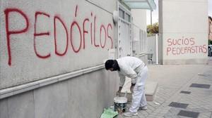 Pintadas contra la pedofilia en Granada, en el 2014.