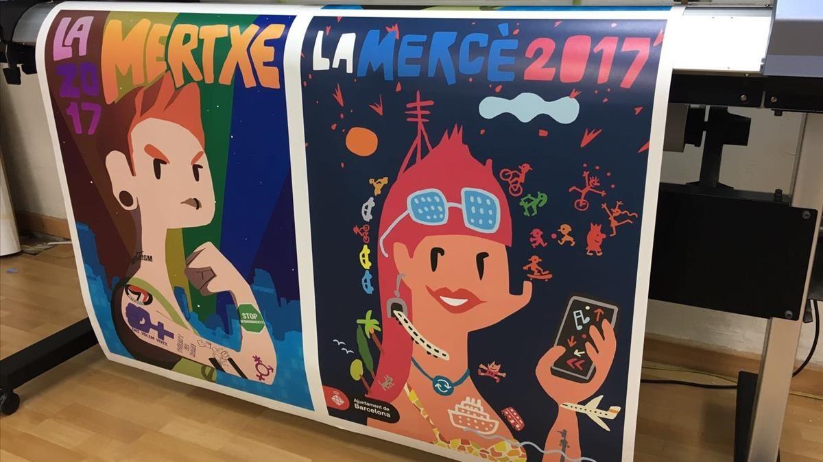 Los dos carteles de la Mercè, el de la fiesta alternativa y el de la oficial.