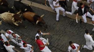 Encierro de San Fermín del sábado 14 de julio con los toros de Miura.