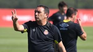 Sesión de entrenamiento de Eusebio al frente del Girona FC.