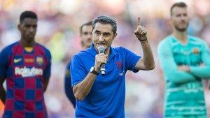 La arenga de Ernesto Valverde en el estreno del Camp Nou 2019-2020.