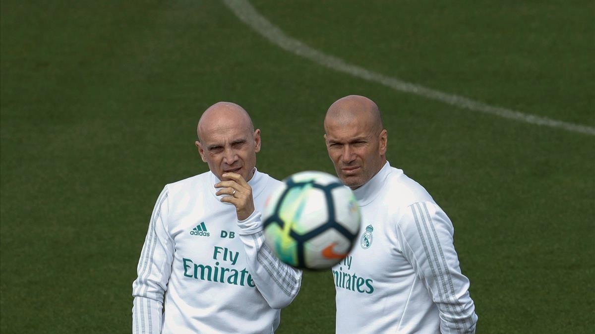 Zidane, en el entrenamiento de Valdebebas.